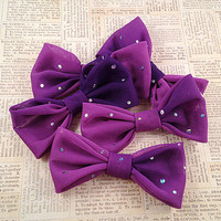 Hair Bow - Gradient Purple Hair Bow Clip - Sequin Fabric Bow - Alligator Clip, Bobby Pin, Barrette - Soft Purple Fabric Hairbow