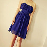 Buy Fashion Sexy Backless Dress Sapphire Blue with cheapest price wholesale-dress.net
