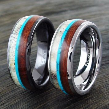 Black or Silver Men's Natural Turquoise, Antler, Hawaiian Koa Wood Ring