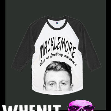 Macklemore hand print women baseball shirt 40348