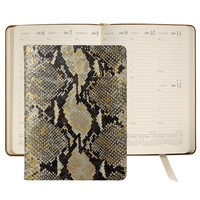 2015 Desk Diary, Gold Wash Embossed Python Leather Agenda | Graphic Image