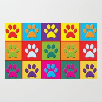 Paw Prints Rug by Miss L In Art