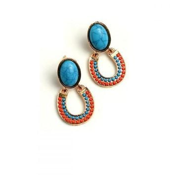 Turquoise and Coral Western Cowgirl Horseshoe Earrings