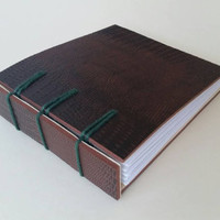 Handmade miniature synthetic croc leather notebook