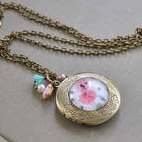 Brass Locket Necklace, Pink Poppy, Photo Locket, Antique Brass Charm Necklace, Victorian Style, Mother's Day Gift