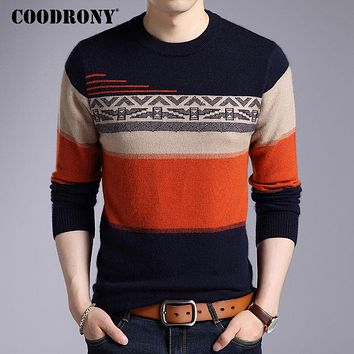 Men Winter Thick Warm Wool Sweaters Fleece Mink Cashmere Pullover New Casual Striped O-neck Pull