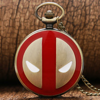 Exquisite Deadpool Inspired Pocket Fob Watch