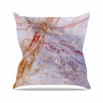 Crazed Marble - Purple Gold Geological Photography Throw Pillow