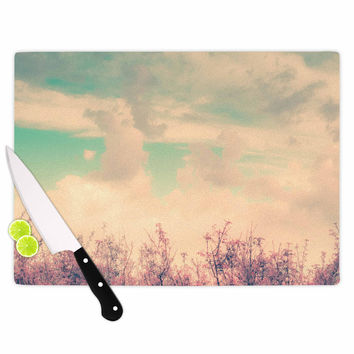 """Graphic Tabby """"Spring Daydream"""" Blue Nature Cutting Board"""