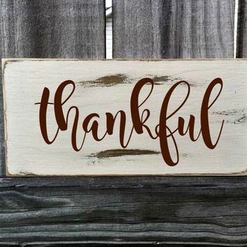 THANKFUL Rustic Sign / Distressed Wooden Sign / THANKFUL Vintage Sign / THANKFUL Rustic Sign