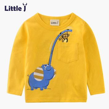 Clearance Kids Cute Animals Elephant Sweatshirt Sping Autumn Boys Long Sleeve Tops Baby Cotton Pullover Tees Children Clothing