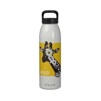 Funky paisley giraffe personalized unique travel water bottles: Wild animal cool and funny design