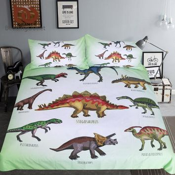 BeddingOutlet Dinosaur Bedding Set Jurassic Printed Duvet Cover Set Setgosaurus Bedclothes for Boys Cartoon 3pcs Home Textiles