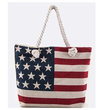 American Pride, American Flag Canvas Tote Bag