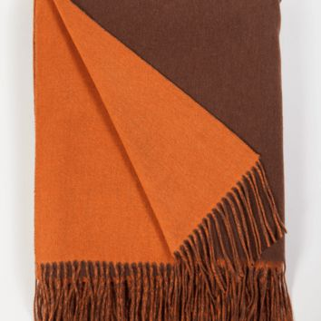 Chocolate and Tangerine Wool / Cashmere Double-Faced Throw