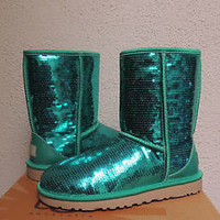 UGG CLASSIC SHORT JADE GREEN SPARKLES/ SEQUIN BOOTS, US 7/ EUR 38/ UK 5.5 ~ NIB