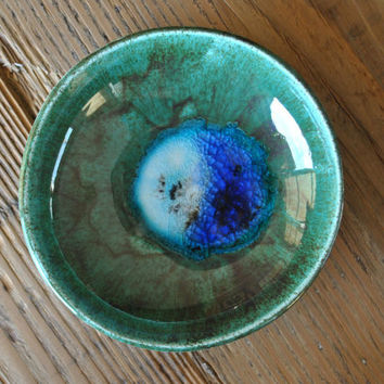 Teal / Turquoise Handcrafted Pottery Dish, Handmade Ceramic Bowl, Home Decor, Gift
