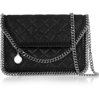 Stella McCartney - The Falabella Tiny quilted faux brushed-leather shoulder bag