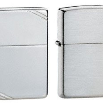 Zippo Lighter Set - Brushed Finish Sterling Silver and 1937 Vintage Replica High Polish Finish Sterling Silver Pack of 2