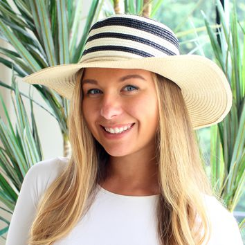 Two Tone Rope Trim Floppy Hat