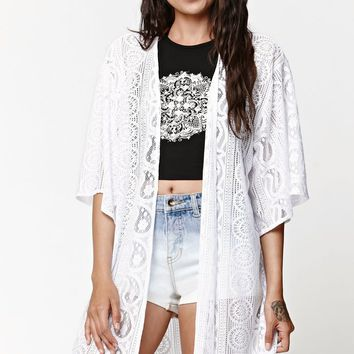 LA Hearts Lace Sweater Kimono Cover Up - Womens Sweater - White - One