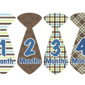 Baby Month Stickers Boy Monthly Onesuit Stickers Blue Brown Tie Stickers Boy Monthly Onesuit Stickers Baby Shower Gift Photo Prop Lou