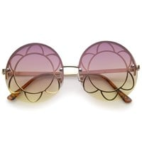 Women's Rimless Floral Frame Gradient Color Lens Oversize Round Sunglasses 59mm