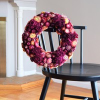 Napa Peony and Strawflower Wreath