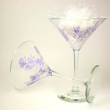 Bridesmaid Martini Glasses - Elegant, Hand Painted Lavender and Silver Roses Set of 4 - Margarita Cocktail Wedding