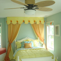 Canopy / Custom panel treatments, seen as  Headboard framing for girls bedroom