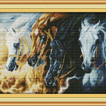 Galloping Steed Animal Canvas DMC Cross Stitch Kits Accurate Printed Embroidery DIY Handmade Needle Work Wall Set Art Home Decor