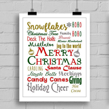 Merry Christmas Wall Art Typography Print - Holiday Art - Christmas Decor - JPG/PDF (8x10)