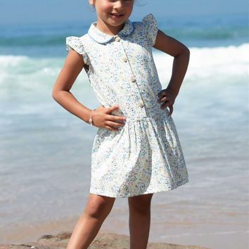 White & Light Blue Floral Print Drop Waist Casual Dress for Spring & Summer Wear (Girls 2T to Size 8)