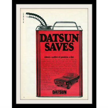 "1973 Datsun 1200 Car Ad ""Gas Can"" Vintage Advertisement Print"