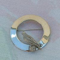 Circle Pin with Eagle Perched Silvertone Metal Bird Avian Jewelry