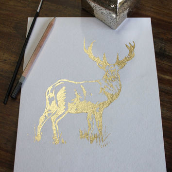 Stag Picture ~ Gold Stag Print Husband Gift Wall Art ~ Gold Deer 1st anniversary gift for him, Gold Foil Print Deer Antlers Wall Decor her