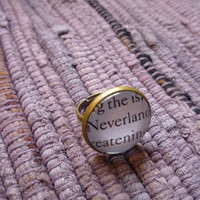 """Peter Pan Ring- """"Neverland"""" Book Page Jewelry, Antique Bronze"""