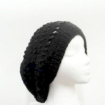 Black oversized beanie hat with eyelets, hand knittted 5058