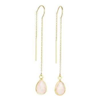 Gemstone Drop Threader Earrings in Rose Quartz
