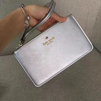 Kate Spade Women Girl Simple Zipper Wrist Bag Handbag Wallet Silver (22 color)