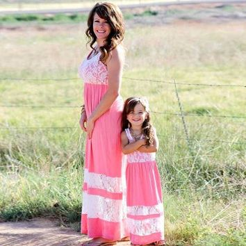 ESBONJ Mommy and me family matching mother daughter dresses clothes striped mom and daughter dress kids parent child outfits familylook