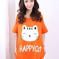 Kawaii Happy Cat Printing Loose Short Sleeve T-shirt - Orange or Blue - M L XL from Tobi's Finds
