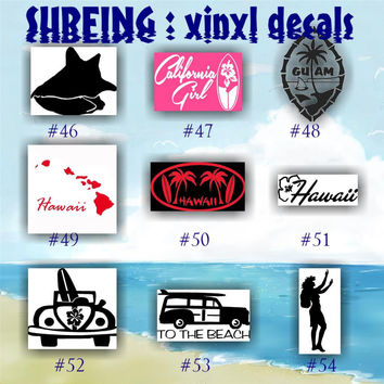 SURFING vinyl stickers - 46-54 -surfer decal - customizable vinyl decals - car window stickers - surfboard decal