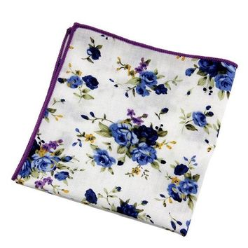 Men's White Floral Pocket SquareWedding Handkerchief, Groomsmen ,Father Gift, Boyfriend,Gift,Party,Vintage,White,Wedding Accesories