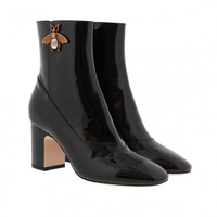 Gucci Product Categories | Shoes | Boots & Booties Patent Leather Ankle Boot With Bee Black black - FASHIONETTE