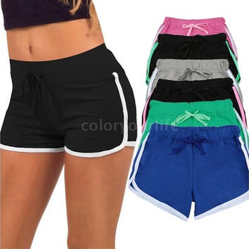 Sexy New Women Sports Shorts Contrast Binding Side Split Elastic Waist Yoga Shorts [8069656519]