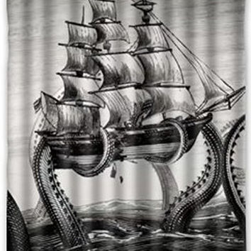 "60"" x 72"" Kraken Deep Sea Monster 100% Polyester Shower Curtain"