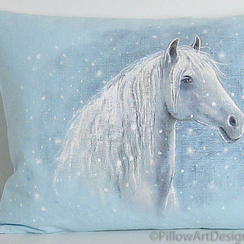 White Horse in Snow Ice Blue Fine Art Pillow