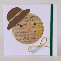 Piano score Snowman - handmade Christmas card - unreplicable, unique and one of a kind - for musicians