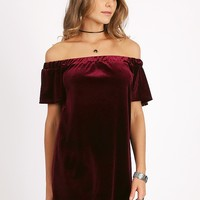 Weak With Desire Velvet Off-Shoulder Dress